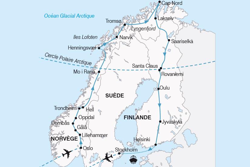 Carte Norvege Suede.Circuit Finlande Norvege Suede Le Grand Tour De