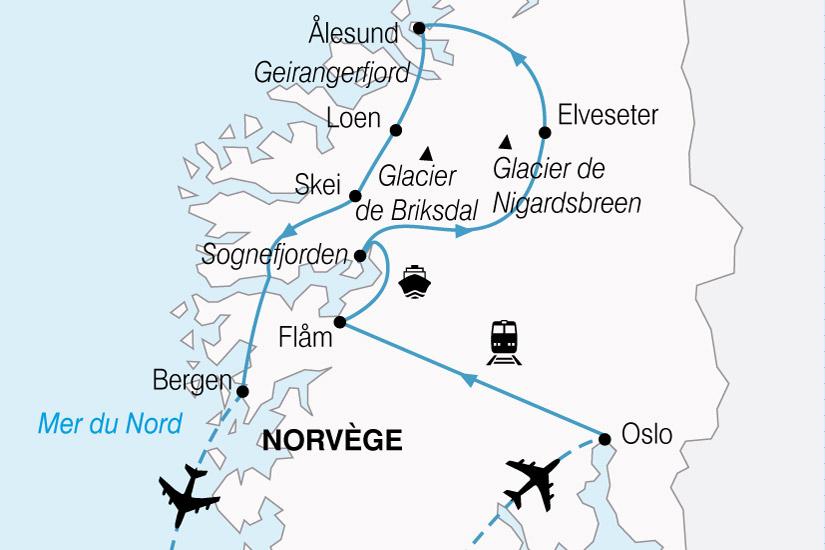 carte Norvege Glaciers Fjords 541347
