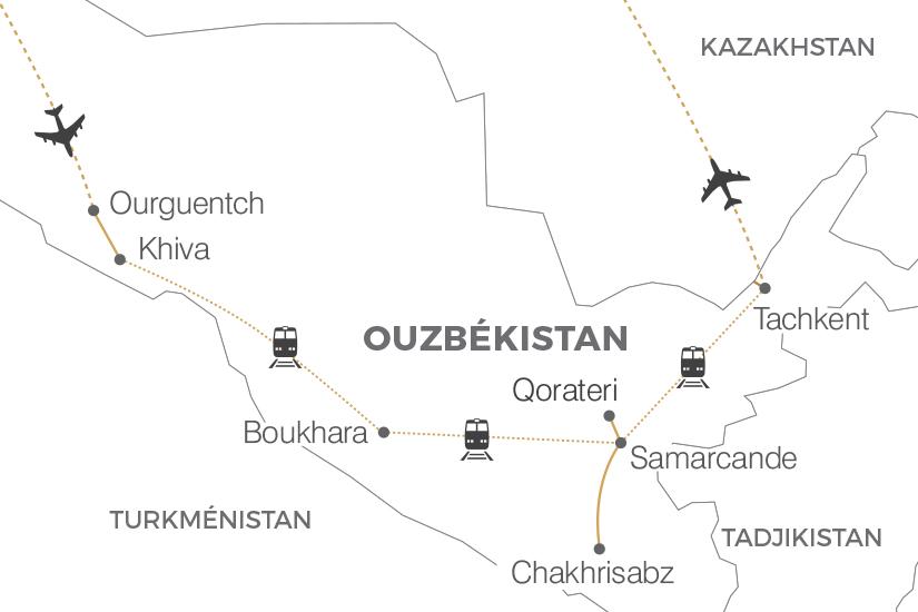 carte Ouzbekistan La Route de la Soie Pouchkine Tours 19_286 244533