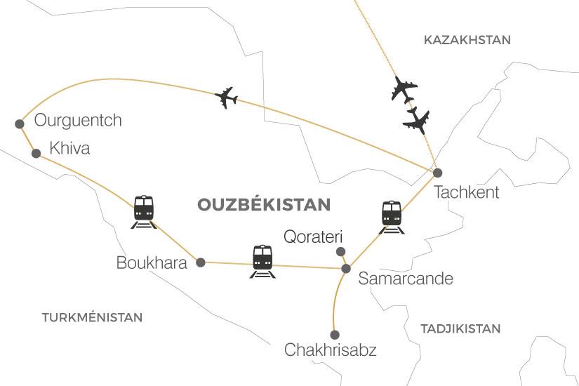 carte Ouzbekistan La Route de la Soie Tachkent Tachkent Pouchkine Tours 19_286 713475