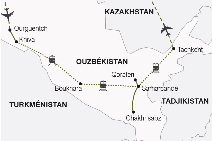 carte Ouzbekistan La Route de la Soie arrivee Ourguentch SH19 20_319 661901