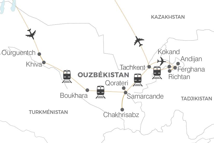 carte Ouzbekistan La Route de la Soie arrivee Ourguentch extension vallee Ferghana Pouchkine Tours 19_286 184891