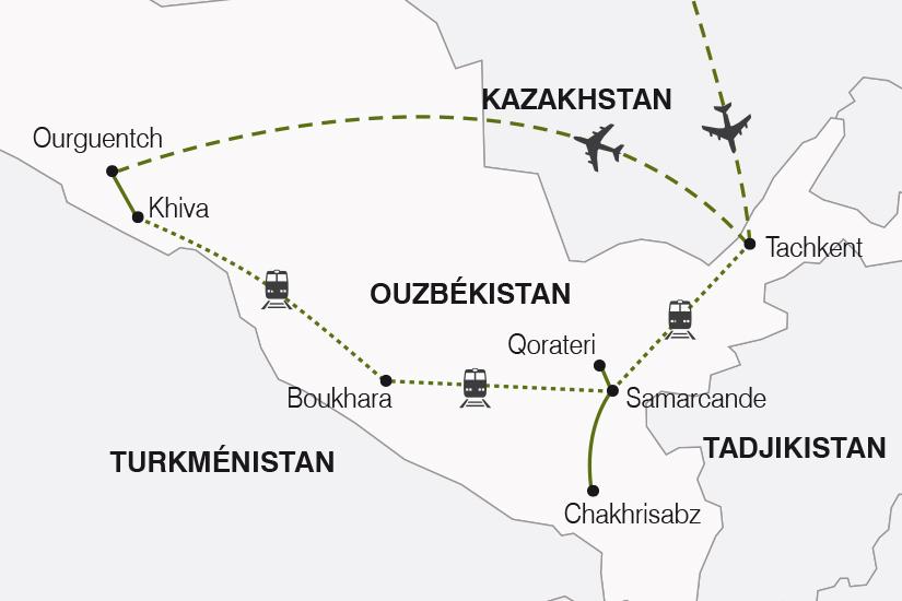 carte Ouzbekistan La Route de la Soie arrivee Tachkent SH19 20_319 233306