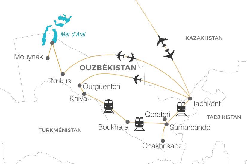 carte Ouzbekistan La Route de la Soie extension mer Aral Pouchkine Tours 19_286 674389