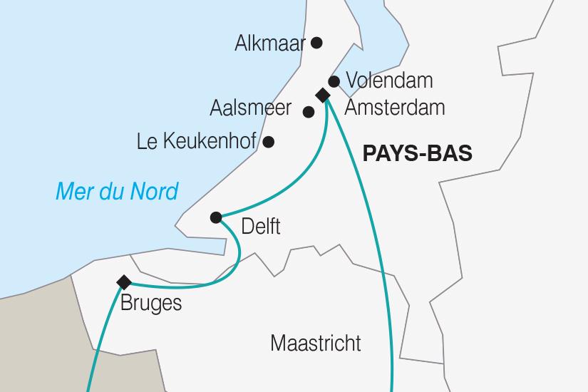 carte Pays Bas Belgique La Hollande le Corso Fleuri et les Tulipes du Parc Keukenhof SH SUD19 20_321 745340