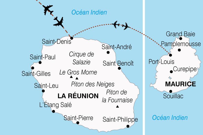 (Map) carte Reunion Maurice Charme Ocean Indien