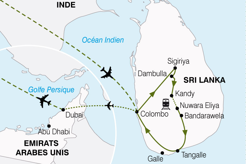 carte Sri Lanka Emirats Arabes Unis Ocean Indien Mer DArabie 193144