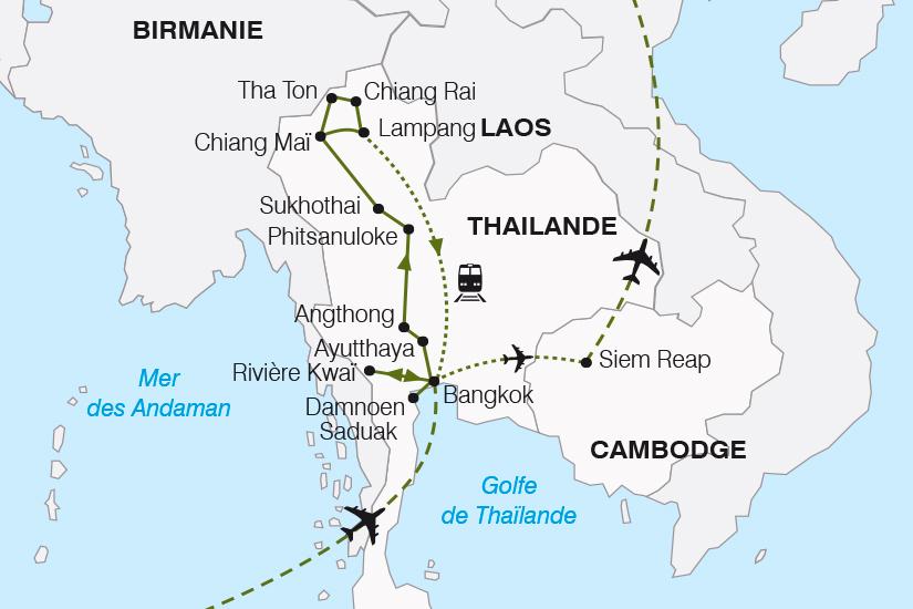 carte Thailande Cambodge du Siam aux Temples d Angkor SH19 20_319 458396