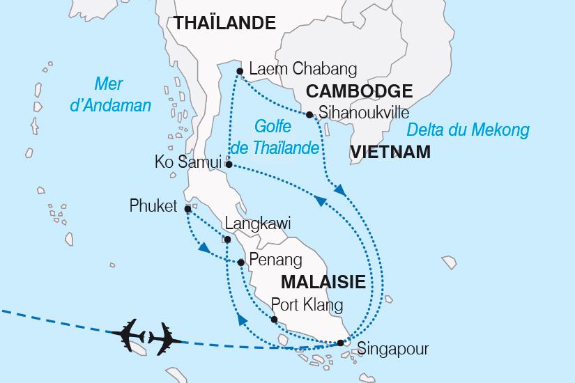 carte Thailande Singapour Malaisie Cambodge L Asie entre detente et culture SH19 20_319 658136