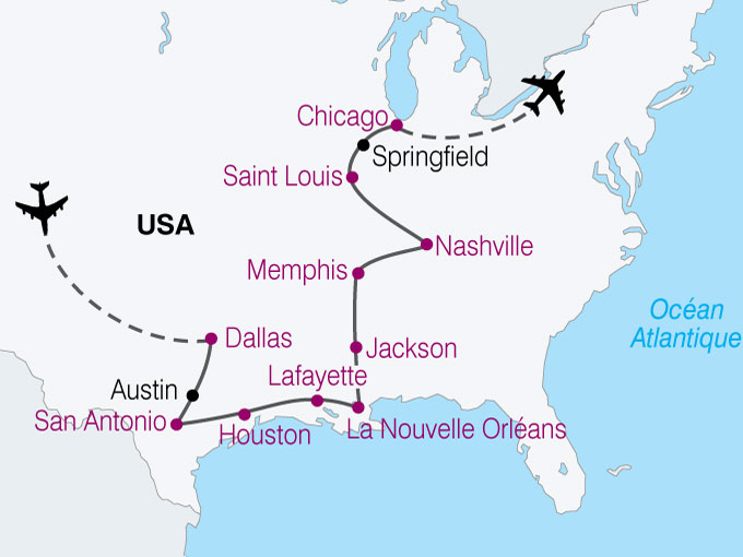 carte USA Dallas NouvelleOrleans Memphis Chicago  nthiver 102306
