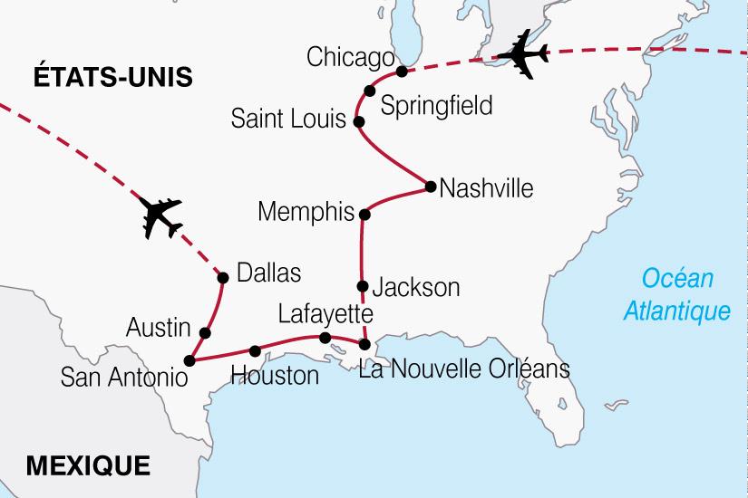 carte USA Nouvelle Orleans Memphis Chicago 193863