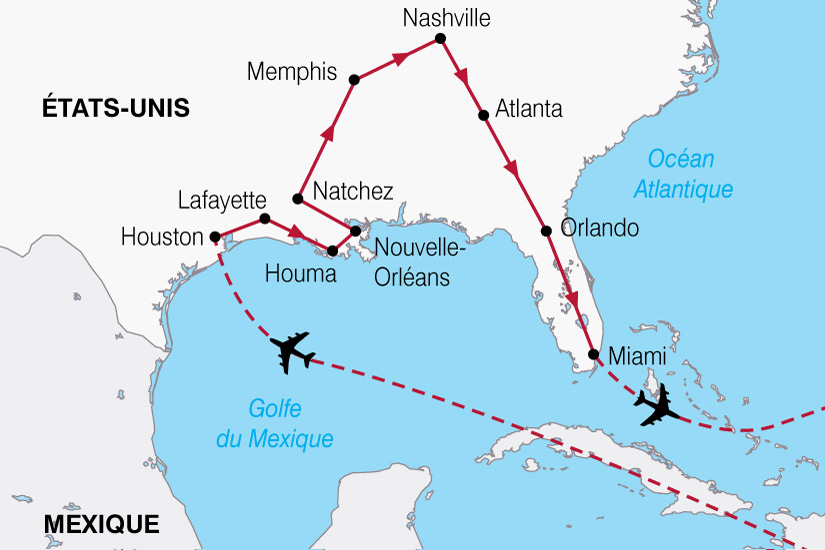 carte USA Texas Louisiane Floride 866031
