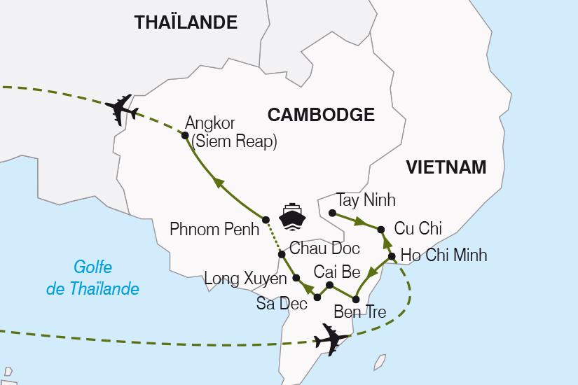 carte Vietnam Cambodge Saigon le Mekong et les temples d Angkor SH20_339 490119