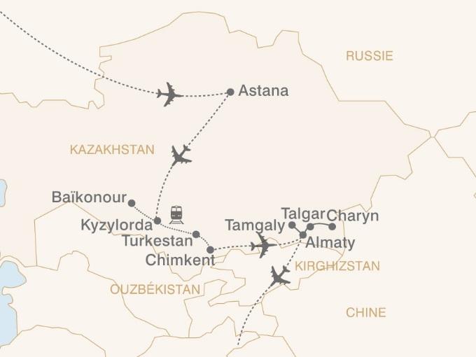 carte pouchkine hiver Asie central Mosaique Kazakhe 801084
