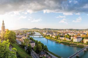autriche salzbourg vue panoramique ville salzbourg riviere salzach soiree 96 as_110014451