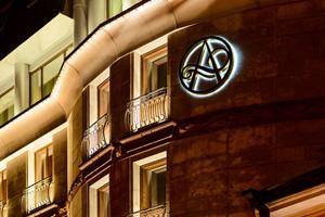 russie saint petersbourg hotel ambassador facade nuit