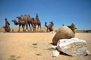 caravane chameaux desert argile  fo