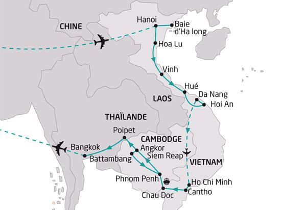 Carte Thailande Cambodge Vietnam.Circuit Cambodge Vietnam Vietnam Et Cambodge Richesses Du