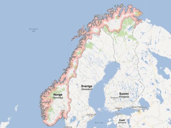 (Map) carte carnet norvege